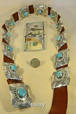 16ozt CALVIN MARTINEZ Navajo INGOT CONCHO BELT 12 GEM TURQUOISE Sterling Silver