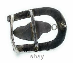 1960's Old Pawn Vintage Navajo Sterling Silver Turquoise Horseshoe Belt Buckle