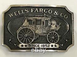 1973 Wells Fargo & Co Sterling Silver # T 92 Belt Buckle Carriage Wagon 135 gr
