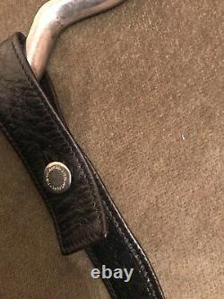 1975 Elsa Peretti Tiffany Open Heart Sterling Silver Buckle w Black Leather Belt