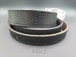 1981 Barry Kieselstein Cord Sterling 2.5 Clam Shell Buckle Black Lizard Belt