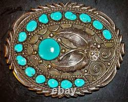 68 gr Old Pawn Native Navajo Sterling Silver Turquoise Belt Buckle UNMARKED 70s