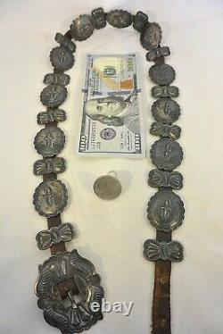 6.5ozt HARRY MORGAN signed Navajo CONCHO BELT with24 Pieces Sterling Silver buckle