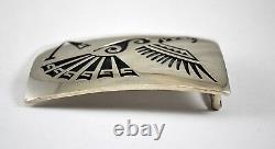 #7682 Hopi Craft Old Pawn Sterling Silver Bird Eagle Belt Buckle Signed MS