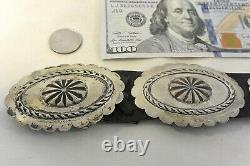 8+ozt Navajo CONCHO BELT Primitive buckle Sterling Silver Repousse & Stamped