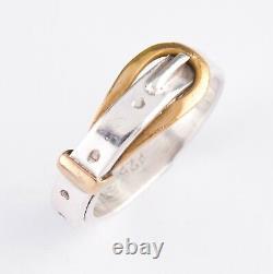925 Sterling Silver Belt Buckle Ring Size 9