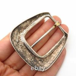 925 Sterling Silver Vintage Etched Floral Design Belt Buckle