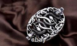925 Sterling Silver men's dragon belt buckle buckles DIY accessory P1198