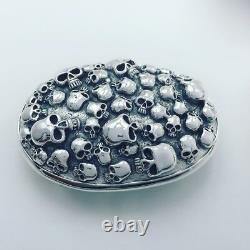 925 Sterling Silver men's skull belt buckle buckles jewelry accessory P1446