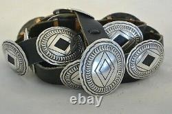9+ozt Navajo CONCHO BELT buckle Sterling Silver heavily Stamped FITS BLUE JEANS