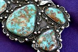 A1 Vintage Signed A Navajo PILOT MOUNTAIN Turquoise Sterling Silver Belt Buckle