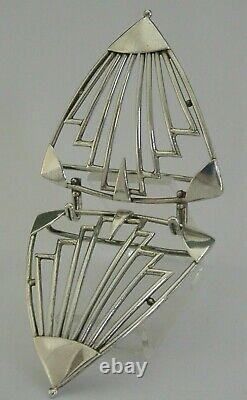 ART DECO VERY STYLISH SOLID STERLING SILVER BELT NURSES BUCKLE c1950
