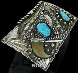 Amazing Sterling Silver Turquoise Native American Old Dead Pawn Vtg Belt Buckle