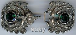 Antique Art Nouveau Green Faceted Glass & Sterling Silver Angel Belt Buckle