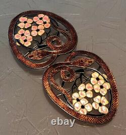 Antique Art Nouveau Sterling Silver Enamel Guilloche Snakes /flowers Belt Buckle