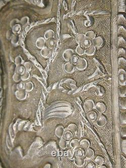 Antique Chinese Sterling Silver Belt Buckle Flower Pattern & Chinese Sign