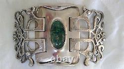 Antique LIBERTY & CO Oliver Baker Designed Sterling Belt Buckle Waist Clasp 1900