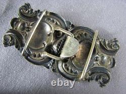 Antique Sterling Silver Art Nouveau Belt Buckle Hearts Repousse Embossed Scroll