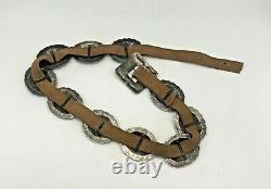 Antique Sterling Silver Concho Belt Southwest Old Pawn Large 10 Medallions Suede