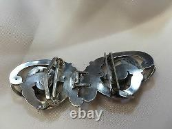 Antique Sterling Silver Dragon Belt Buckle Rare W Kerr Art Nouveau 839 w Garnets