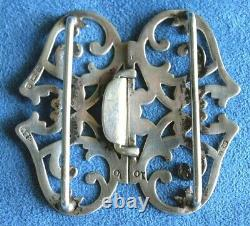 Antique Victorian 1900 Hallmark Engraved Sterling Silver Nurses Belt Buckle