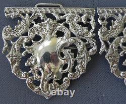 Antique Victorian Sterling Silver Nurses' Belt Buckle Flowers & Scrollwork 1899