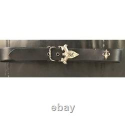Ari Soffer Black Leather Belt With Sterling Silver Buckle