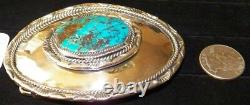 BELT BUCKLE, with Arizona Bisbee Turquoise and Sterling Silver