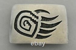 BERNNARD DALLASVUYAOMA Hopi BELT BUCKLE Bear Claw Sterling Silver Overlay