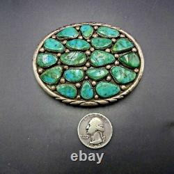 BIG Vintage NAVAJO Sterling Silver and FOX TURQUOISE Cluster BELT BUCKLE