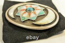 BISBEE Mine Turquoise CONCHO BELT BUCKLE Navajo Zuni Style MOP & Sterling Silver