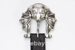 Barry Kieselstein-Cord 1996 Black Lizard Sterling Silver Bat Womens Buckle Belt