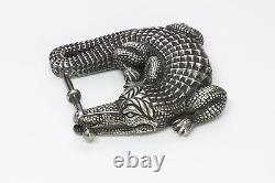 Barry Kieselstein-Cord Large Sterling Silver Crocodile Alligator Belt Buckle
