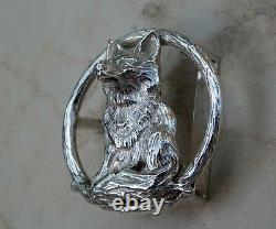 Beautiful Designer Sterling Silver Seating Fox Belt Buckle With Artist Signature