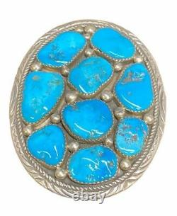 Beautiful Navajo Handmade Sterling Silver Turquoise Belt Buckle Marie T