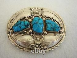 Beautiful Vintage Navajo EJ David STERLING SILVER Turquoise Inlay Belt Buckle