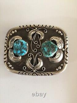 Belt Buckle Sterling Silver / Turquoise. 110g