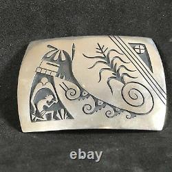 Berra Tawahongva Belt Buckle Hopi Handstamped Sterling Silver Belt Buckle 52
