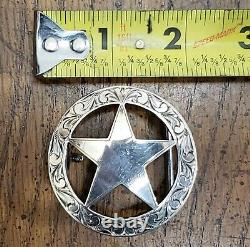 Clint Orms Texas Star Sterling Silver Belt Buckle Engraved Edges