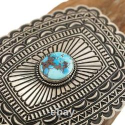 Concho BELT BUCKLE Sterling Silver Golden Hill Turquoise Tsosie White Navajo