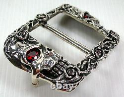 Designer Skull And Roses Tattoo Garnet 925 Sterling Silver Mens Belt Buckle New