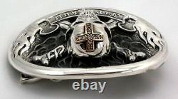 Diamond Crossbones Skull Cross 925 Sterling Silver Mens Belt Buckle Biker New
