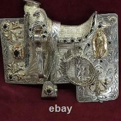 Diamond & Sapphire Horse Saddle Belt Buckle in Sterling Silver & 10K Gold