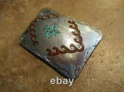EXTRA NICE Vintage Navajo MOSAIC Sterling Silver Turquoise / Coral Belt Buckle