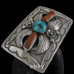 Floral Native American Turquoise Western Sterling Silver 70 Vintage Belt Buckle