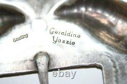 GERALDINE YAZZIE Jr. NAVAJO BELT BUCKLE, STERLING SILVER, SIGNED GERALDINE YAZZ