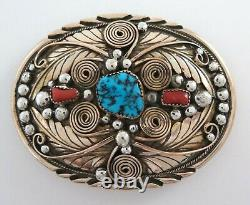 Gorgeous Sterling Silver Turquoise & Coral Gold Filled Applique Belt Buckle