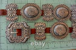 HEAVY 16oz KIRK SMITH Navajo CONCHO BELT Sterling Silver Revival Stamping buckle
