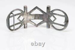 HERMES TOUAREG Sterling Silver Black Woven Leather Engraved Wide Belt Buckle