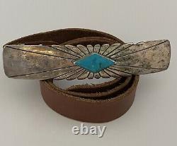 HUGE 6 Signed NAVAJO Turquoise & Sterling Silver Belt Buckle With Leather Belt